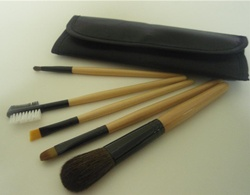 natural hair wooden handle makeup brush set with pouch